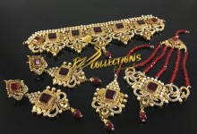TRADITIONAL LOOK GOLD RHODIUM PLATED SEMI PRECIOUS STONES BRIDAL SET