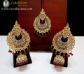 TRADITIONAL LOOK WITH GOLDEN BASED EARRING ALONG WITH MATCHING TEEKA
