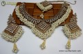 STYLISH GOLDEN WITH ANTIQUE BASED ALONG WITH GAJRA BEATS NECKLACE SET