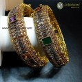 TRADITIONAL LOOK ZIRCON POLKIE & SEMI STONES 2 PIECES BANGLE