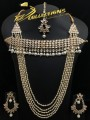 BEAUTIFUL DESIGN GOLDEN BASED KUNDAN STONES COLLAR PATTI WITH 5 LAYERS LONG MALA NECKLACE SET