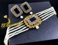 Golden Based Traditional Look Stylish CHOKER SET with Semi Precious and Polkie Stones