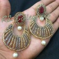 DECENT LOOK GOLD PLATED WITH POLKIE STONES EARRING