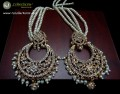 GOLDEN BASED HYDERABADI EARRING WITH ATTACHED 4 LAYERS LONG SAHARA