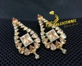 GOLD PLATED ZIRCON SEMI PRECIOUS STONES FINE QUALITY EARRING