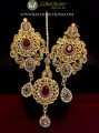 STYLISH TRADITIONAL GOLDEN BASED WITH SEMI STONES EARRING ALONG WITH TEEKA