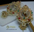 STYLISH TRADITIONAL LOOK WITH GOLDEN BASED POLKIE STONES JHUMKI