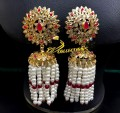 BEAUTIFUL HYDERABADI DESIGN SEMI STONES HANGING PEARL LAYERS JHUMKI