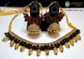 TRADITIONAL LOOK WITH GOLDEN BASED NECKLACE WITH MATCHING INDIAN JHUMKI