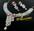 GOLD PLATED ZIRCON SEMI PRECIOUS STONES NECKLACE SET