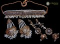 TRADITIONAL LOOK GOLDEN BASED HYDERABADI NECKLACE WITH MATCHING 2 PAIR EARRINGS