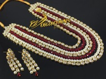GOLDEN BASED KUNDAN STONES HEAVY MALA SET