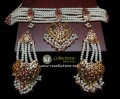 GOLDEN BASED HYDERABADI 6 LAYERS GULUBAND STYLE NECKLACE SET