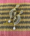 Gold Plated with Zircon and Semi Preciojs Stones Indian EARRING