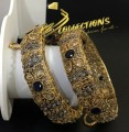 BEAUTIFUL DESIGN GOLD PLATED POLKIE ZIRCON & SEMI PRECIOUS STONES PAIR BANGLE