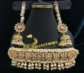 GOLDEN BASED HYDERABADI DESIGN WITH SEMI PRECIOUS STONES GAJRA BEATS GULUBAND NECKLACE SET