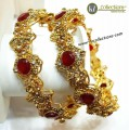 TRADITIONAL LOOK SEMI PRECIOUS STONES 2 PIECES BANGLE