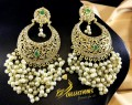 Golden Based EARRINGS with Polkie Stones and Hanging Pearl Beats