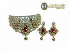 ZIRCON GOLD PLATED INDIAN BRIDAL SET