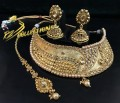 TRADITIONAL LOOK GOLDEN BASED POLKIE STONES INDIAN BRIDAL WEDDING SET