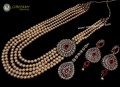 STYLISH GOLDEN ANTIQUE BASED WITH GOLDEN BALL 5 LAYERS MALA NECKLACE SET