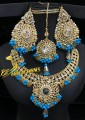 TRADITIONAL LOOK POLKIE STNES GAJRA BEATS NECKLACE SET