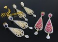 GOLD PLATED ZIRCON SEMI PRECIOUS STONES EARRING