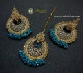 TRADITIONAL LOOK POLKIE STONES GOLDEN BASED GAJRA BEATS EARRING WITH MATCHING TEEKA
