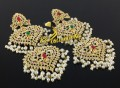HYDERABADI DESIGN GOLDEN BASED NAURATAN EARRING