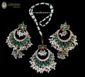 STYLISH GOLDEN BASED ZIRCON AND SEMI STONES GAJRA BEATS PENDANT SET
