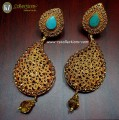 DECENT LOOK GOLDEN BASED WITH SEMI PRECIOUS STONES EARRING