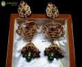 TRADITIONAL LOOK GOLDEN BASED POLKIE STONES INDIAN JHUMKI