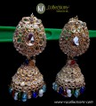 STYLISH TRADITIONAL LOOK POLKIE STONES WITH GOLDEN BASED JHUMKI