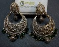 TRADITIONAL LOOK POLKIE STONES GOLDEN ANTIQUE BASED EARRING