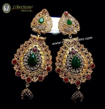 TRADITIONAL LOOK POLKIE AND SEMI STONES EARRING
