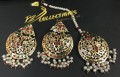 GOLDEN BASED HYDERABADI DESIGN WITH SEMI PRECIOUS STONES NAURATAN EARRING WITH MATCHING TEEKA