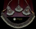 STYLISH GOLDEN WITH ANTIQUE BASED ALONG WITH BEAUTIFUL LOOK GAJRA BEATS NECKLACE SET