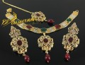 TRADITIONAL LOOK SEMI PRECIOUS STONES CHAIN NECKLACE SET