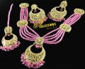 Golden Based Traditional Look NECKLACE SET with Polkoie Stones and Pink Crystals