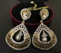 GOLD PLATE ZIRCON WITH SEMI PRECIOUS STONES INDIAN EARRING