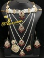 TRADITIONAL LOOK POLKIE STONES GOLDEN BASED 3 LAYERS MALA WITH COLLAR PATTI COMPLETE BRIDAL SET