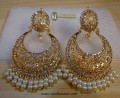 STYLISH TRADITIONAL LOOK POLKIE STONES WITH GOLDEN BASED EARRING