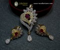 GOLD PLATED ZIRCON INDIAN PENDANT SET