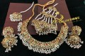GOLDEN BASED HYDERABADI DESIGN WITH SEMI PRECIOUS STONES NAURATAN NECKLACE SET