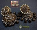 GOLDEN ANTIQUE BASED WITH HANGING METAL BALLS THICK SIZE JHUMKI
