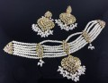 GOLDEN BASED HYDERABADI GULUBAND STYLE NECKLACE SET (Available in range of designs and colors)