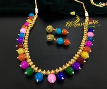 TRADITIONAL LOOK GOLDEN BASED MULTI BEATS NECKLACE SET
