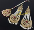 NEW HYDERABADI DESIGN SEMI PRECIOUS STONES EARRING MATCHING TEEKA