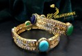 GOLD RHODIUM PLATED ZIRCON SEMI PRECIOUS STONES BANGLE