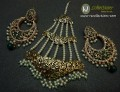 GOLDEN BASED HYDERABADI DESIGN WITH SEMI PRECIOUS STONES EARRING WITH MATCHING JHOOMER